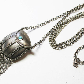 Fringed Silvertone & faux Turquoise Locket Stash Box Pendant Necklace