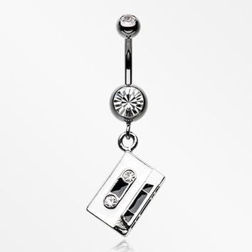 Cassette Tape Sparkle Hematite Belly Button Ring