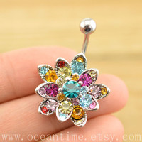 belly ring,sunflower Belly Button Rings, glitter flower belly button jewelry, Navel Jewelry,friendship bellyring,oceantime