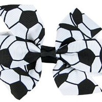 "Hip Girl Boutique 2pc 3"" White Soccer Grosgrain Ribbon Pinwheel Hair Bow Alligator Clips"