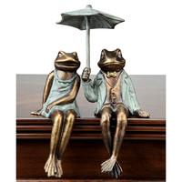 Sophisticated Frog Couple Holding an Umbrella Figurine Shelf Sitter by SPI-HOME
