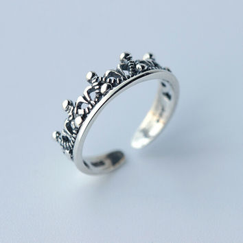 925 sterling silver thai silver crown opening ring,literature retro crown ring,a perfect gift
