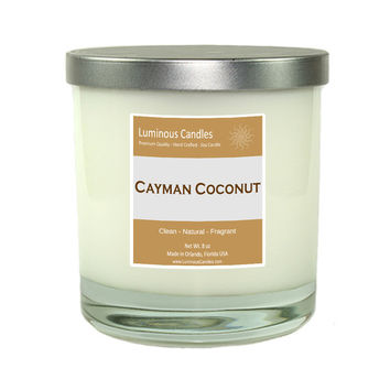 Soy Candle - Cayman Coconut Scented – 8 oz Rock Glass Jar Candle with a Brushed Metal Lid
