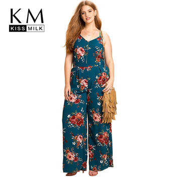 Kissmilk Plus Size Women Clothing Floral Print Sleeveless Jumpsuit Hollow Out Ladies Bodysuit Camis Spaghetti Strap Bodysuit