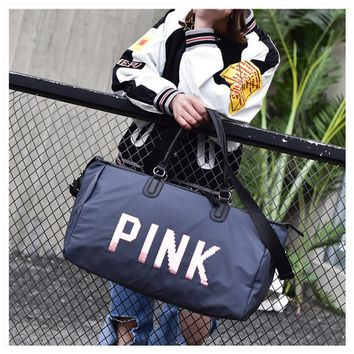 Ladies Luxury Travel Bag PINK Sequins Shoulder Bag Women Handbag Women Handbag Ladies Weekend Portable Duffel Bag Waterproof Washs