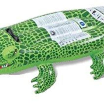 By PoolCentral 56 inch  Spotted Green Crocodile Rider Inflatable Swimming Pool Float Toy with Handles