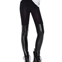 Black PU Insert Leggings