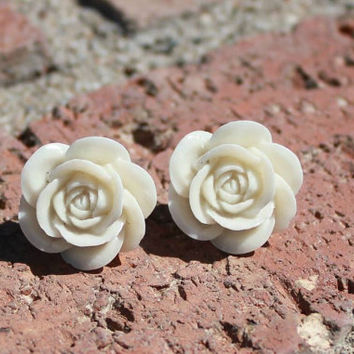 Creamy Vanilla Rose Earrings - SWEET Open Roses  . . . Buy 3 Get 1 FREE . . .Bridal Jewelry, Statement Piece, Large White Roses