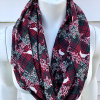 Christmas-Handmade-Red and Green-Flannel-Infinity Scarf-Chunky-Winter-Gifts for Her-Women's-Kid's-Toddler-Mommy and Me