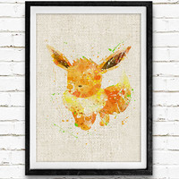 Pokemon Eevee Watercolor Print, Pocket Monster Baby Nursery Decor, Wall Art, Home Decor, Gift Idea, Not Framed, Buy 2 Get 1 Free!