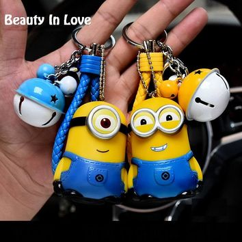 Cartoon Despicable Me Minions Anime Pendant Kids Toys Keychain Women Leather Strap Metal Key Ring Chains Car Bag Charm D34