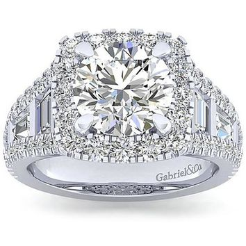 Gabriel Amavida Cushion Halo Side Baguette Diamond Engagement Ring