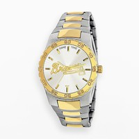 Game Time Executive Series Atlanta Braves Two Tone Stainless Steel Watch - MLB-EXE-ATL - Men (Silver/Gold)