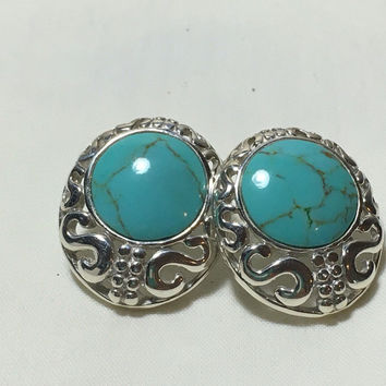 Vintage Mexican Silver 925 Turquoise Earrings Southwest Stud Filigree