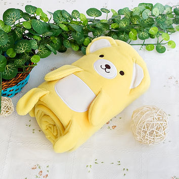 Happy Bear Yellow Embroidered Applique Coral Fleece Baby Throw Blanket in 42.5 by 59.1 inches