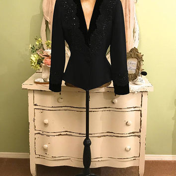 Elegant Dinner Jacket, Nolan Miller, Black Concert Jacket, M/LM, Rococo Beaded Jacket, Ornate Special Occasion Jacket, Fit n Flare Jacket