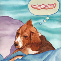 Beagle Dreams of Bacon Original Watercolor Illustration Art Print | Dog sleeping dreaming colorful painting | quirky adorable nursery decor