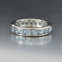 Superb Blue Topaz Silver Eternity Band Ring