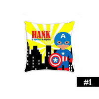 Superhero Theme PILLOW Personalized African American Captain America Baby Boy Nursery Boy Bedroom CHOOSE your SUPERHERO  14x14