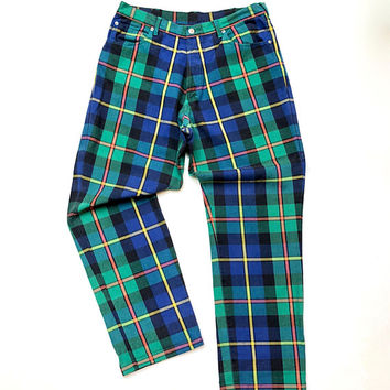 POLO RALPH LAUREN!!! Vintage 1990s 'Polo Ralph Lauren' men's plaid jean with denim styling and detailing
