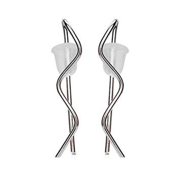 BodyJ4You Pair of Plain Wire Wave Ear Crawler Silvertone Ear Climber