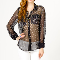Silk Feather Blouse