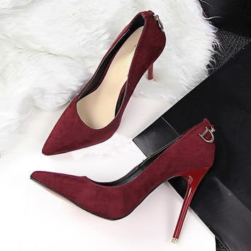 Women Pumps Red Bottom High Heels Wedding Shoes 2017 Fashion Women Shoes Woman Sexy Pointed Toe Thin High Heels  Ladies shoes