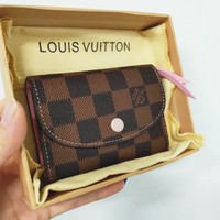 LV Louis Vuitton High Quality Fashion Women Pink Buckle Key Packet PU Small Coin Purse Wallet Key Pouch