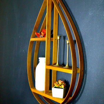 LARGE Danish Modern Bentwood Teardrop Hanging Shelf, Mid Century Home Decor, Danish Modern Tear Shelf