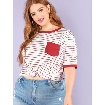 Plus Pocket Patched Striped Ringer Tee