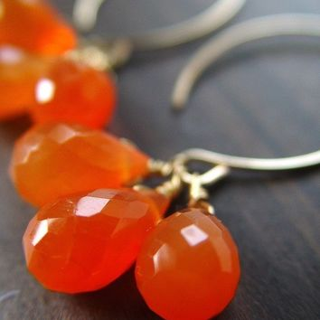 Carnelian Cluster Gold Earrings