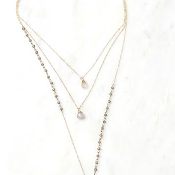 Layered Stone Necklace Gold/Grey