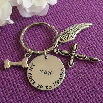 Pet Memorial Jewelry. Dog Memorial Keychain, Pet Loss Gift Personalized Dog Remembrance Keychain. All Dogs Go to Heaven