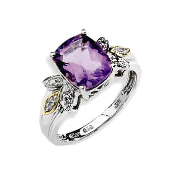 925 Sterling Silver Cushion Cut Solitaire Amethyst and Diamond Ring: Size: 6