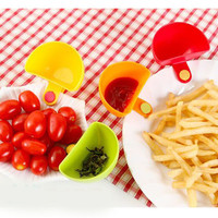 4pcs Dip Saucer Assorted Salad Saucer Ketchup Jam Dip Clip Cup Bowl Saucer Tableware Kitchen Tool