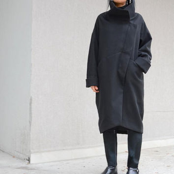 ON SALE Extravagant  WOMEN black Coat / Asymmetrical Long Womens Outerwear  / Party Coat/High Neck Collar