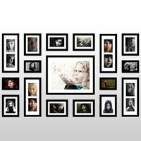 US Yanksmart Wall Hanging Art Home Decor Modern Gallery 17-piece Wood Multi-piece Photo Frame Set . Black X547S
