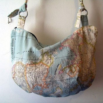 World Map Fabric Handbag by SkyTurtle on Etsy