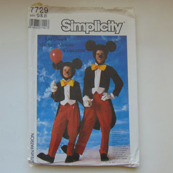 Simplicity 7729 Mickey Mouse Costume Sewing Pattern Size 6-8