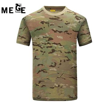 MEGE Summer Cotton T-shirt, Men Sports Hunting Hiking Dry Camo Camp Tees, Army Trainning Combat Camouflage Breathable T-Shirt