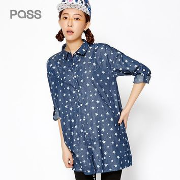 New Arrival Star Print Cotton Long Shirts Spring Button Stand Collar Casual Shirts
