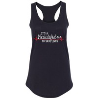 """Grey's Anatomy """"It's a Beautiful Day to Save Lives"""" Racerback Tank Top"""