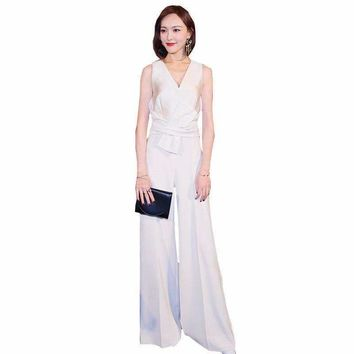 Womens wear V-Collar Loose Slim Body Jumpsuit