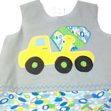 Boys Bubble Romper, Cement Truck Outfit, Boys Romper, Boys one Piece Outfit, Boys Summer Clothes, Boys Jumpsuit, Bubble Romper, Boys Gift,