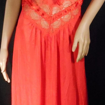 Vintage 60s-70s Red Peekaboo Lace Nightgown by Petra Fashions Size Large