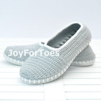 Crochet Boots Slippers for the Street Summer Grey White Custom Made