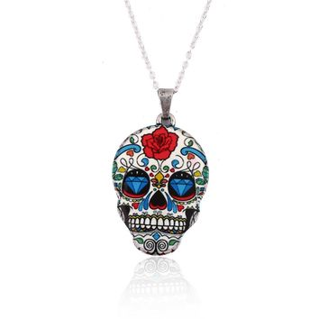 SMJEL New Fashion Colorful Skull Pendant Necklace Women Skull Head chain Necklace Party Halloween Gifts Accessories OXL021