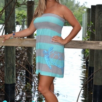 mint and gray strip dress with sea turtle art on side of dress beach coverup and sun dress