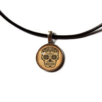 Mexican skull pendant Native american art Ornament jewelry Antique style Unisex