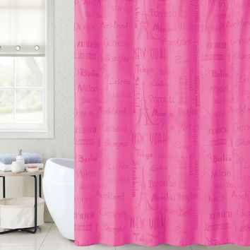 "Royal Bath Magic Appearing Landmark Cities Waterproof Fabric Shower Curtain (72"" x 72"") with 12 Matching Hooks"